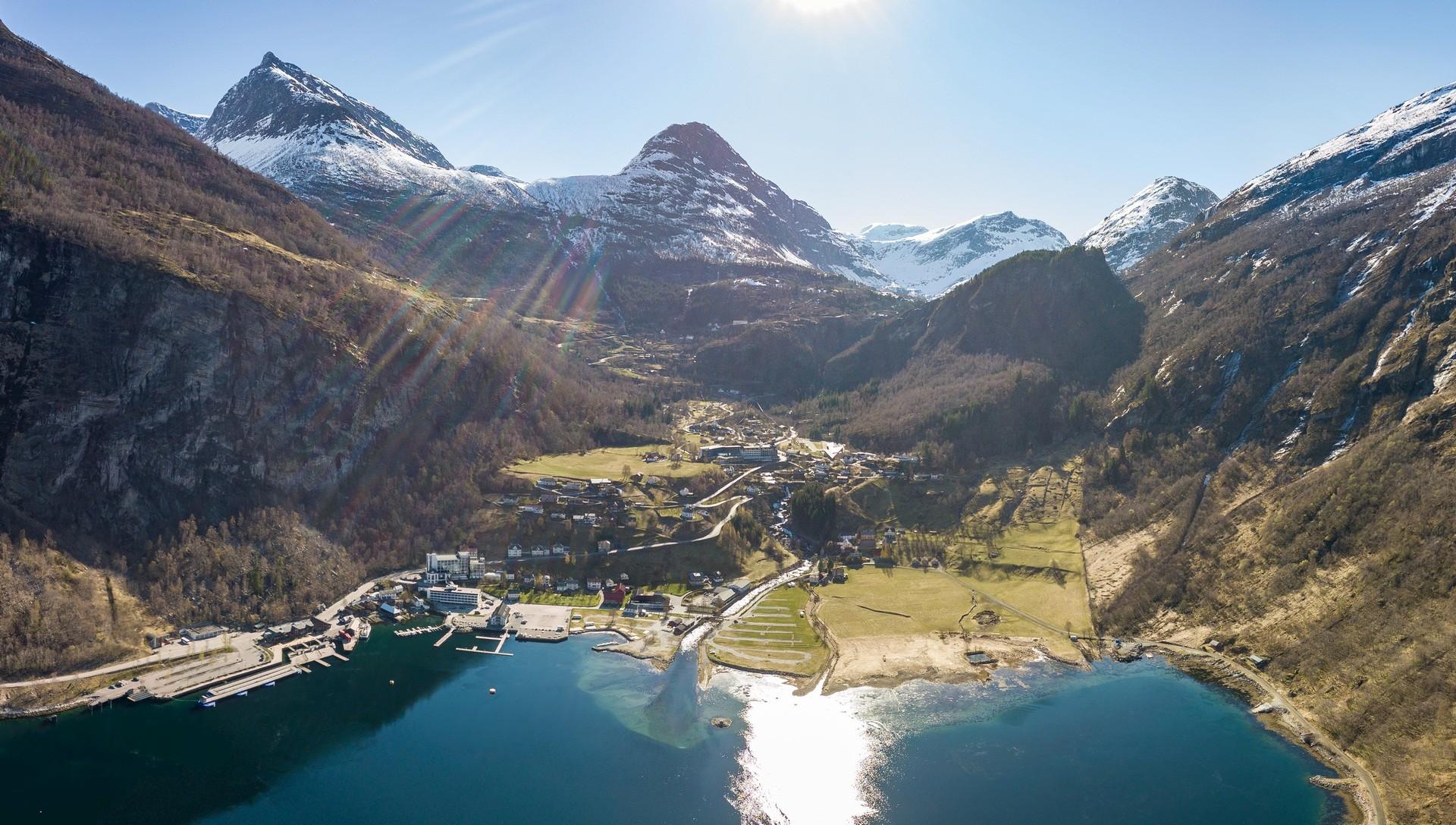 Drohne Panorama Norwegen Geiranger Fjord Reisefotografie